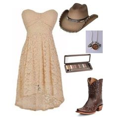 Plus-Size strapless beige lace dress, with cowgirl hat/boot and accessories by im-karla-with-a-k on Polyvore featuring polyvore fashion style Urban Decay