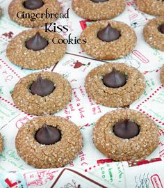 Hershey Kiss Gingerbread Cookies I Cinnamon Spice and Everything Nice Ginger Bread Cookies Recipe, Cookie Recipes, Dessert Recipes, Ginger Cookies, Dinner Recipes, Holiday Cookies, Holiday Treats, Holiday Recipes, Holiday Foods