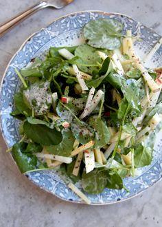 "Kohlrabi, Apple, and Watercress Salad with Sumac Yogurt Dressing — Saveur calls it ""a twist on the classic Waldorf salad."" (Click on image for recipe) via @Saveur"