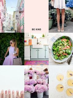 April Inspiration Board: pastel houses in San Fran, preppy pink dresses, colorful rugs, grapefruit & edamame salad and more!