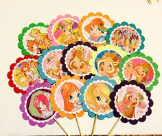 This ls listing for 12 Winx Club favor /party tags OR cupcake toppers ,which will be perfect for the birthday goodie bags and making beautiful