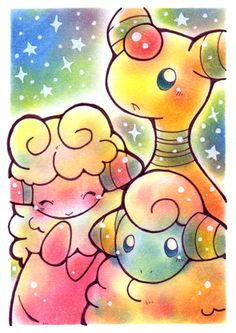 mareep flaaffy and ampharos. I'm laughing because the original description of this pin was mareep Pikachu and joltic :)