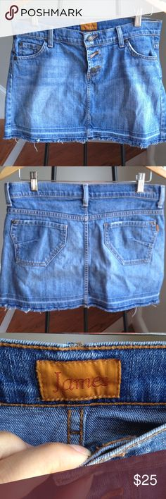 James Jeans denim skirt Cute skirt. In great pre owned condition. Fits size 29. Not to short. Medium wash. James Jeans Skirts