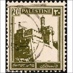 Palestine Stamps 1927 - Landmarks/Buildings: The Citadel of Jerusalem/Tower of David - 20 Milliemes - olive/green