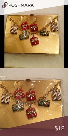 Holiday package necklace and earrings Just in time for the holidays, necklace and earrings with colorful wrapped holiday packages as charms. Jewelry Necklaces