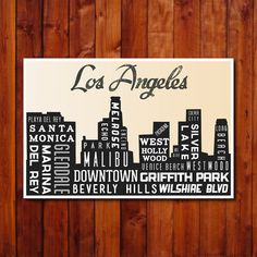 Los Angeles Skyline Poster. Typography Print. City Art Print. .12x18. $30.00, via Etsy.