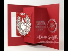 Dawn's Stamping Studio: Wondrous Wreath JOY Card - Pop out Swing Card Video Tutorial Flip Cards, Fun Fold Cards, Pop Up Cards, Xmas Cards, Folded Cards, Holiday Cards, Joy Fold Card, Pop Up Christmas Cards, Winter Cards