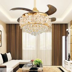 Modern LED Luxury Gold contemporary Folding Crystal Ceiling Fans With Lights Remote Control ventilador teto techo home fan Lamp