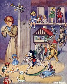 Toys come ALIVE! Vintage Child and Toys Illustration. Digital Vintage Toys Download. Digital Vintage Toys Art To Print!