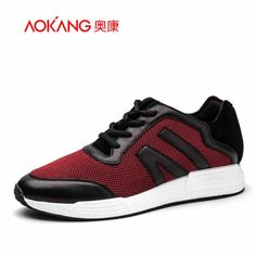 62.22$  Buy now - http://ali6em.worldwells.pw/go.php?t=32719399027 - AOKANG 2016 autumn New Men's leather mesh mixed shoes Lace-Up Casual Shoes For Men Comfort walking shoes red white male shoes 62.22$