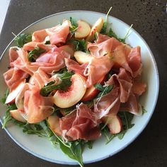 So simple but so good! White peaches, rocket, prosciutto and aged balsamic #salad #growitlocal #peach #prosciutto