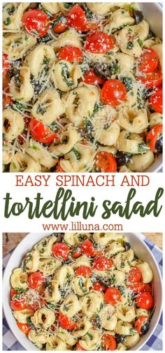 This cold tortellini salad is the ultimate side dish for bbq and potlucks! With tortellini spinach tomatoes olives and parmesan tossed in Italian dressing this Tortellini Spinach Salad is packed with all the best flavors! Cold Side Dishes, Potluck Side Dishes, Potluck Recipes, Side Dish Recipes, Dinner Recipes, Healthy Recipes, Pizza Side Dishes, Side Dishes For Party, Italian Side Dishes