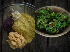 Cheesy Kale Chips w/ nutritional yeast, dulse, miso, garlic, olive oil and sea salt. Raw Food Recipes, Veggie Recipes, Snack Recipes, Healthy Recipes, Cheesy Kale Chips, Homemade Yogurt, Dehydrator Recipes, Healthy Snacks, Vegan Snacks