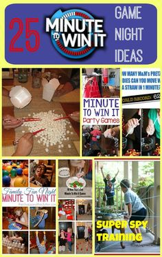 25+ Minute to Win It Game Night Ideas -- Need some new family game night ideas? Try to re-create 'Minute to Win It' with easy, fun strategy games with your family! These 25 ideas will have your family up, moving and laughing!
