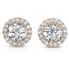Collette Z Rose Goldplated or Sterling Silver Cubic Zirconia Round Earrings (