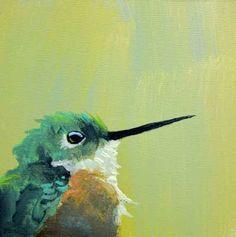 Hummingbird Number 1  5 x 5 bird art print by MincingMockingbird. , via Etsy.