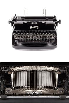 This rare typewriter was produced around 1955 by Rheinmetall-Borsig A.G. Sömmerda/Thür in former GDR (East Germany).  This Rheinmetall KsT in glossy black is a very sleek and elegant typewriter with a solid construction. The Rheinmetall-logo in script font on the top cover and the rare oval keys (a later version of the KsT was produced with square keys) are beautifully complementing the 50s vintage look of the curvy body. It seems as if the typewriter was a special order by its origin ow...