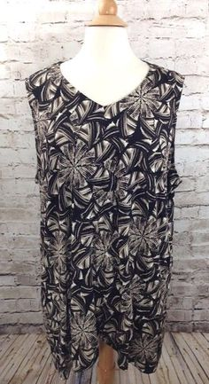 CJ BANKS Sleeveless Black Print Top Plus Size 3X Rayon Stretch Crossover Tunic #CJBanks #Tunic #Casual
