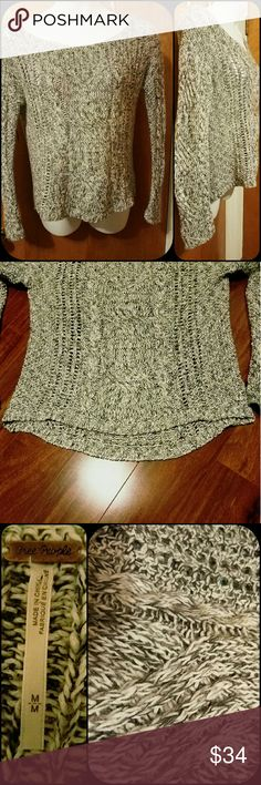 "EUC Free People Sweater EUC. Lovely knit sweater by Free People with cute hi/low hem. Size Meduim. Worn once, no piling.   Flat lay measurements  Armpit-Armpit 20"" Free People Sweaters"
