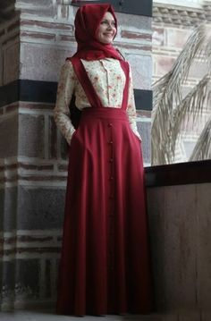 See related links to what you are looking for. Islamic Fashion, Muslim Fashion, Abaya Fashion, Fashion Dresses, Women's Fashion, Romantic Couple Poses, Suspenders For Women, Suspender Dress, School Dresses