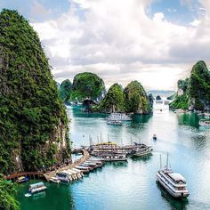 Halong Bay, Vietnam. Halong Bay is one of the most beautiful and breathtaking places on the planet. Halong Bay area is not just the bay, but also 120 kilometers of a shoreline, as well as over 3 thousand islands bathing in the emerald water.