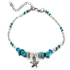 Eternal-Z Starfish Turquoise Anklet Bracelet Fashion Bohemian Rhinestone Beads Foot Chain Barefoot Sandal Adjustable Joker Jewelry for Women and Girls Fashion Bracelets, Jewelry Bracelets, Chain Jewelry, Jewellery, Beach Jewelry, Fashion Jewelry, Beaded Starfish, Ankle Jewelry, Beach Anklets