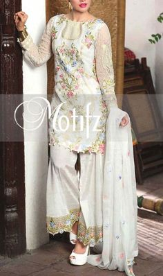 Buy White Embroidered Crinkle Chiffon Dress by Motifz 2016