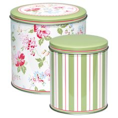 GreenGate Tin Round Box Donna White Set Of 2 Pieces