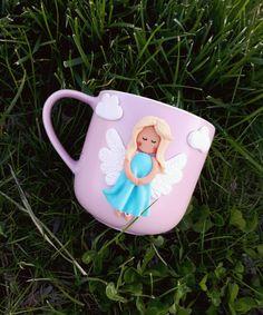 Cute coffee mug Unique tea cup Girl's birthday Mug decor Funny mug Polymer clay mug Personalized mug Own design cup Little angel Pink mug by CristallArt on Etsy