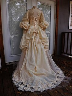Items similar to Victorian Wedding Dress Theather Movie Performance Costume Embroidered Beaded Wedding Dress Sz 12 on Etsy Vintage Gowns, Vintage Outfits, Victorian Fashion, Vintage Fashion, Fashion History, Beautiful Outfits, Marie, Wedding Gowns, Bridal