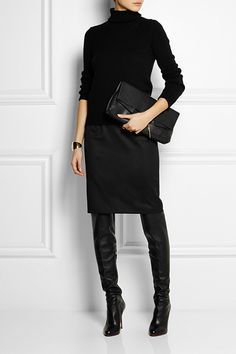 below knee pencil skirt with riding boots - Google Search