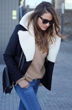 Knit Sweater And Shearling Jacket 2017 Street Style