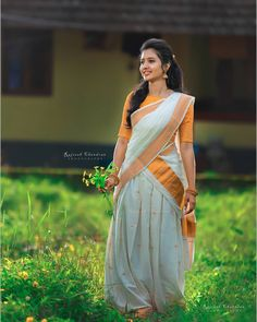 Image may contain: 1 person, standing and outdoor Beautiful Girl Photo, Beautiful Girl Indian, Beautiful Saree, Beautiful Indian Actress, Set Saree, Half Saree Lehenga, Saree Look, Lehenga Gown, Kerala Saree Blouse Designs