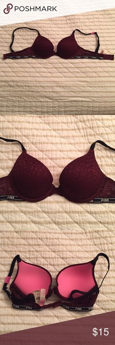 Maroon lace Victoria's Secret pink bra Maroon cheetah print lace- brand new!!! PINK Victoria's Secret Intimates & Sleepwear Bras