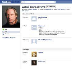 L'account Facebook di Breivik