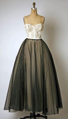 Pierre Balmain evening dress 1950, House of Balmain founded 1945.