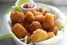 Homemade Tater Tots, makes 4 dozen  -3 cups mashed potatoes, chilled  -2 eggs, beaten  -½ cup flour  -Kosher salt  -3 cups panko bread crumbs  -4 cups vegetable oil