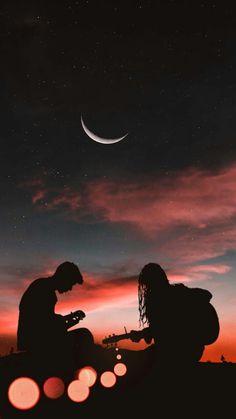 Romantic Couple Playing Guitar Sunset Half Moon - Wallpaper World
