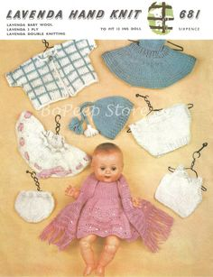 Lavenda 681 Dolls Clothes knitting pattern for 13ins Doll [DOWNLOAD]