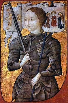 Early miniature portrait of Joan of Arc with banner  from 15th century on a prachment currently located in the Paris Archives Nationales.