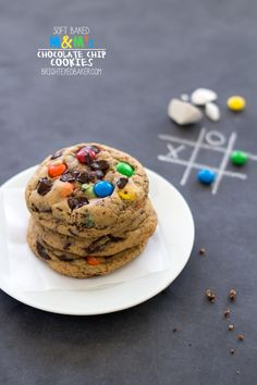 Soft-Baked M&M's Chocolate Chip Cookies  - Super-soft, chewy cookies filled with colorful M&M's and chunks of chocolate. From @Katya du Bois-eyedba...