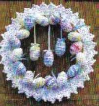Crochet Easter Eggs Wreath By: Lily Sugar'n Cream Crochet a delicate lace wreath with colorful crochet Easter eggs and ribbon. This Easter crochet pattern is a great way to decorate for the holiday. Holiday Crochet, Crochet Home, Crochet Crafts, Crochet Projects, Free Crochet, Easter Projects, Easter Crafts, Easter Ideas, Easter Crochet Patterns