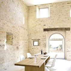 very cool stone washed brick walls... and arch doorway.