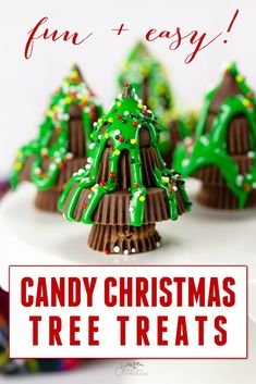 Candy Christmas Tree Treats on white plate Homemade Christmas Gifts, Christmas Crafts For Kids, Christmas Candy, Christmas Treats, Homemade Gifts, Christmas Diy, Christmas Cookies, Christmas Desserts, Christmas Baking