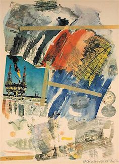 Artist: Robert Rauschenberg, American - Title: Untitled from the Horchow Portfolio Year: 1972 Medium: Offset Lithograph on Arches, signed and numbered in pencil Edition: 150 Size: 40 in. x 30 in. cm x cm) Price: On Request Robert Rauschenberg, Jasper Johns, Franz Kline, Roy Lichtenstein, Willem De Kooning, Collage Kunst, Collage Art, Collages, Andy Warhol