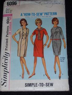 1965 SIMPLICITY 6096-LADIES COLLARLESS DRESS w/DETACHABLE COLLAR~TIE PATTERN 12T