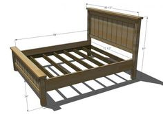 I want to make this!  DIY Furniture Plan from Ana-White.com  The blog favorite Farmhouse Bed, now in California King! This bed plan is a must read, as the construction is a tad different to accommodate no 4x4 posts and an easier method of joining the siderails with the headboard. Special thanks to JME Blog for their marvelous photos!