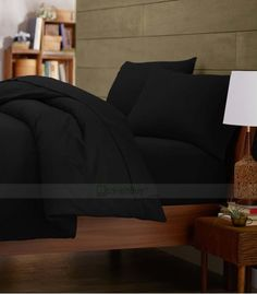 Black Double Egyptian Cotton Quilt Duvet Cover + Sheet Choice - 1000TC Queen Bed Sheets, Twin Bed Sheets, Double Bed Sheets, Twin Xl Bedding, Cheap Bed Sheets, Cheap Bedding Sets, Queen Bedding Sets, Double Duvet, Egyptian Cotton Sheets