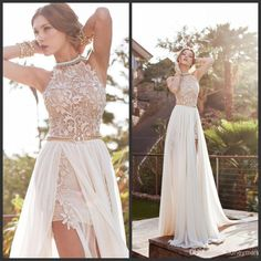 dresse on sale at reasonable prices, buy 2016 A Line Front Slit Chiffon Elegant Two Pieces Beach Wedding Dress 2016 Detached Train Bridal Gown vestido de noiva from mobile site on Aliexpress Now! Prom Dresses 2015, Backless Prom Dresses, Lace Evening Dresses, Bridal Dresses, Evening Gowns, Lace Dress, Backless Wedding, Prom Gowns, Evening Party