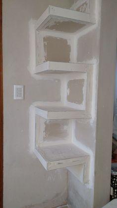 📣 35 Amazing Corner Shelves Ideas 016 - All About Home, Home Decor Shelves, Room Design, Ceiling Design Bedroom, Room Shelves, Diy Home Decor, Home Decor, Corner Shelves, Shelf Design, Living Room Designs